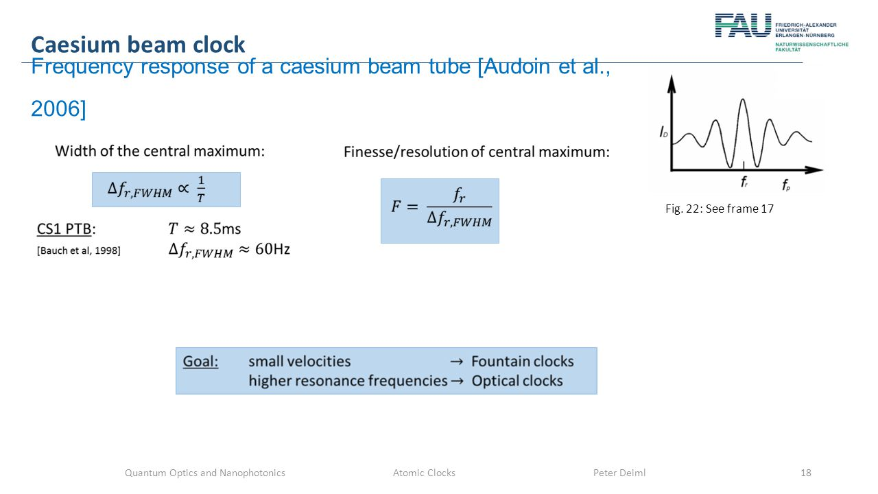 Quantum Optics and Nanophotonics Atomic Clocks Peter Deiml18 Caesium beam clock Frequency response of a caesium beam tube [Audoin et al., 2006] Fig.