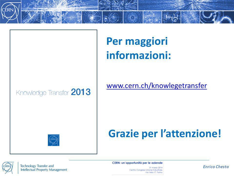 Enrico Chesta Grazie per l'attenzione! Per maggiori informazioni: www.cern.ch/knowlegetransfer