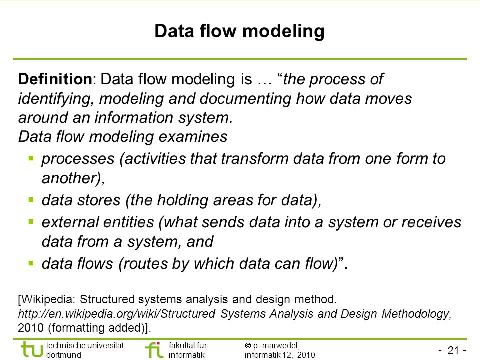 - 21 - technische universität dortmund fakultät für informatik  p. marwedel, informatik 12, 2010 Data flow modeling Definition: Data flow modeling is