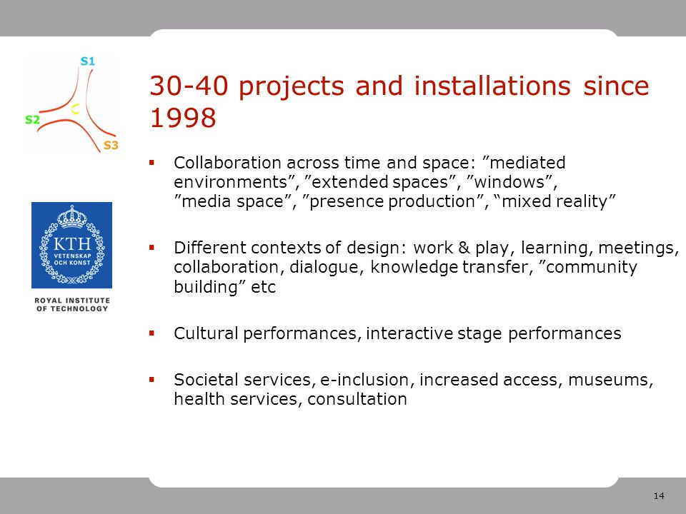 14 30-40 projects and installations since 1998  Collaboration across time and space: mediated environments , extended spaces , windows , media space , presence production , mixed reality  Different contexts of design: work & play, learning, meetings, collaboration, dialogue, knowledge transfer, community building etc  Cultural performances, interactive stage performances  Societal services, e-inclusion, increased access, museums, health services, consultation