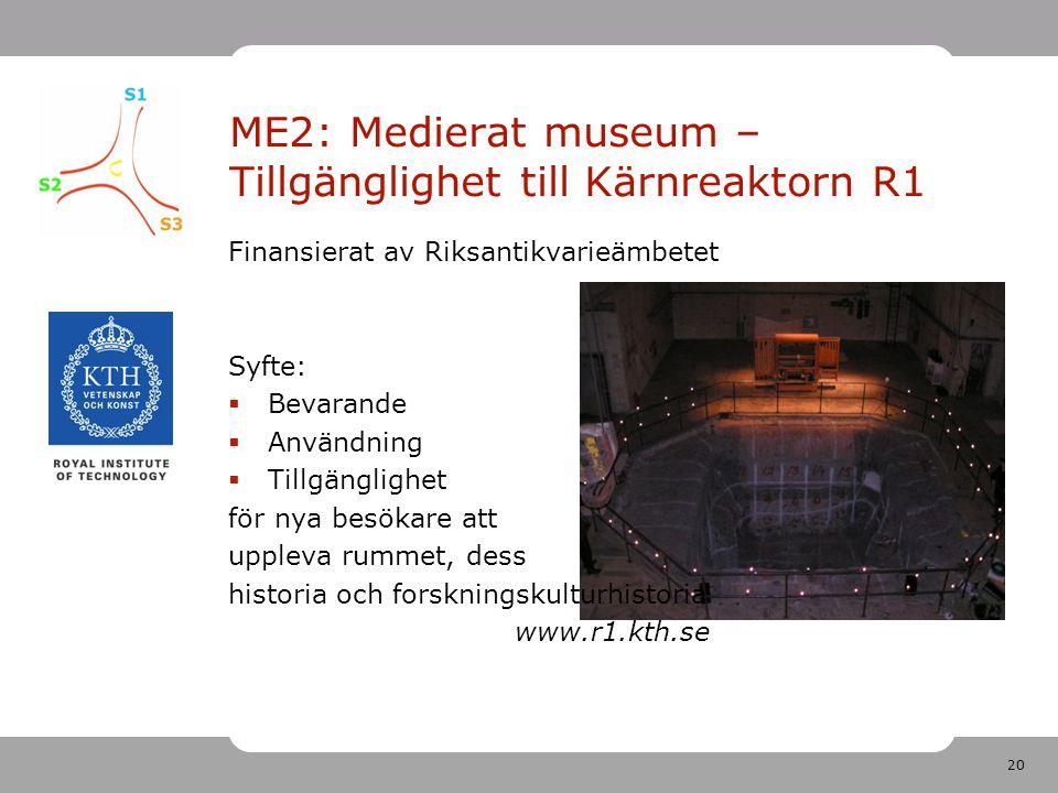 20 ME2: Medierat museum – Tillgänglighet till Kärnreaktorn R1 Finansierat av Riksantikvarieämbetet Syfte:  Bevarande  Användning  Tillgänglighet för nya besökare att uppleva rummet, dess historia och forskningskulturhistoria www.r1.kth.se