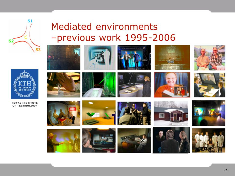 26 Mediated environments –previous work 1995-2006