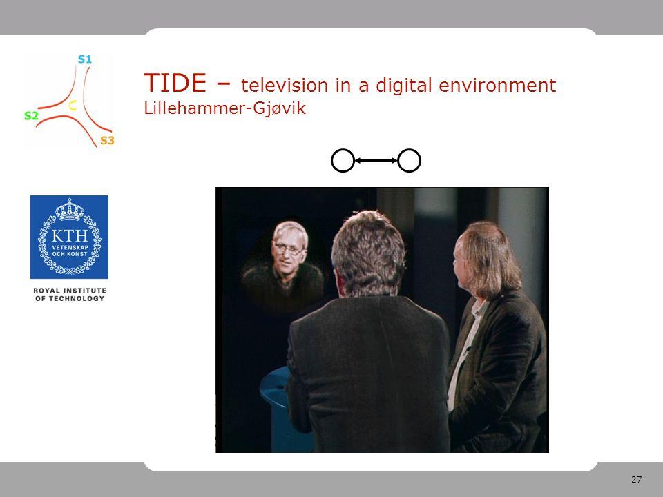 27 TIDE – television in a digital environment Lillehammer-Gjøvik
