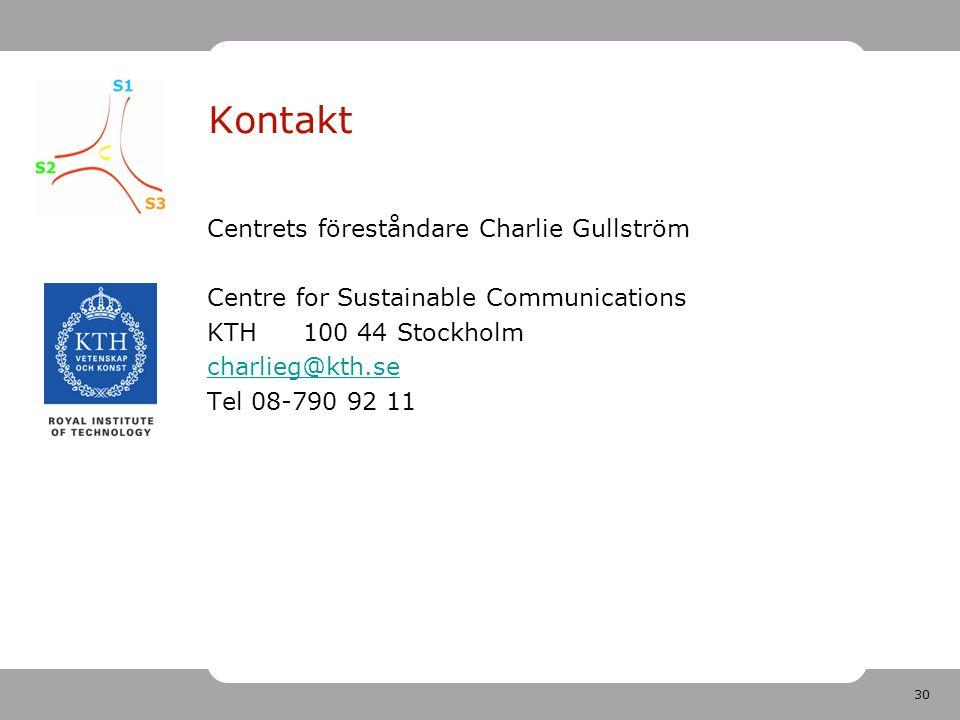 30 Kontakt Centrets föreståndare Charlie Gullström Centre for Sustainable Communications KTH 100 44 Stockholm charlieg@kth.se Tel 08-790 92 11