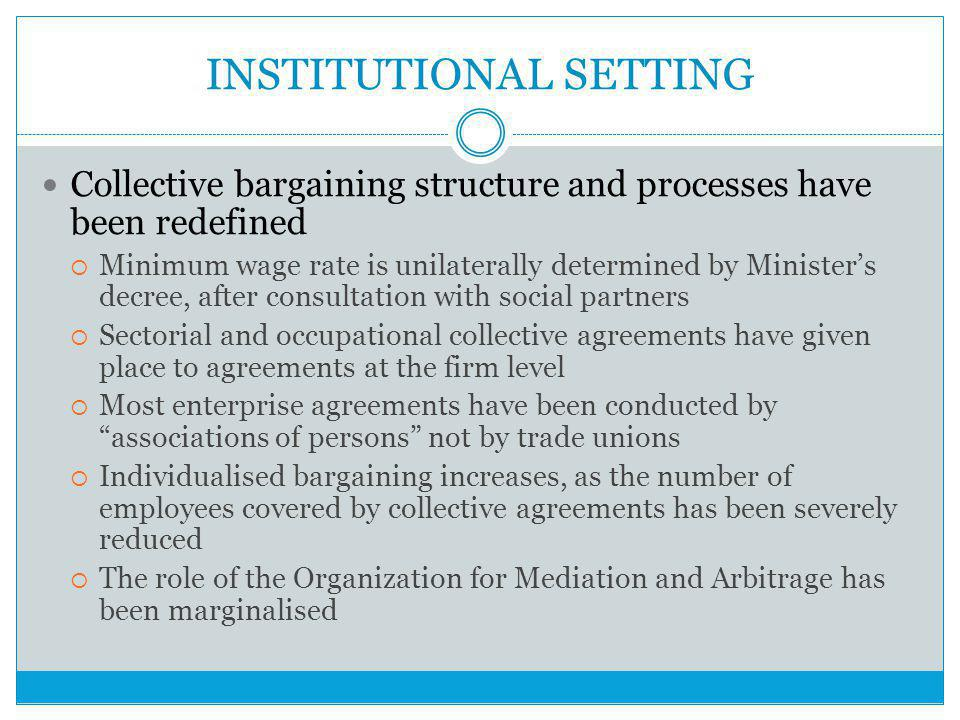 INSTITUTIONAL SETTING Collective bargaining structure and processes have been redefined  Minimum wage rate is unilaterally determined by Minister's decree, after consultation with social partners  Sectorial and occupational collective agreements have given place to agreements at the firm level  Most enterprise agreements have been conducted by associations of persons not by trade unions  Individualised bargaining increases, as the number of employees covered by collective agreements has been severely reduced  The role of the Organization for Mediation and Arbitrage has been marginalised