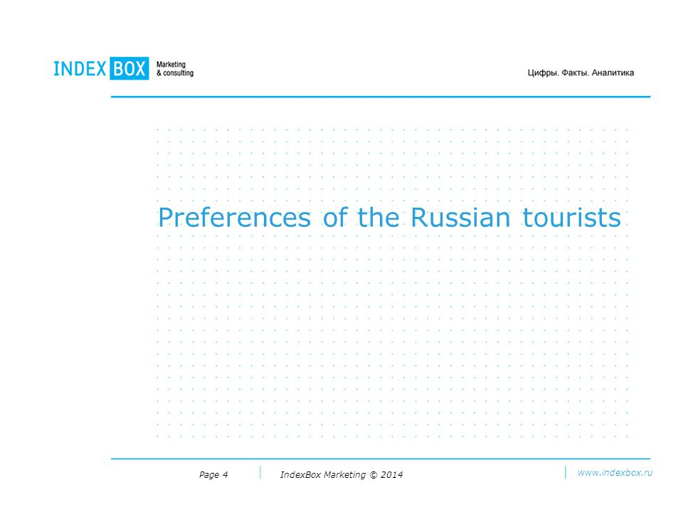 IndexBox Marketing © 2014 www.indexbox.ru Page 4 Preferences of the Russian tourists
