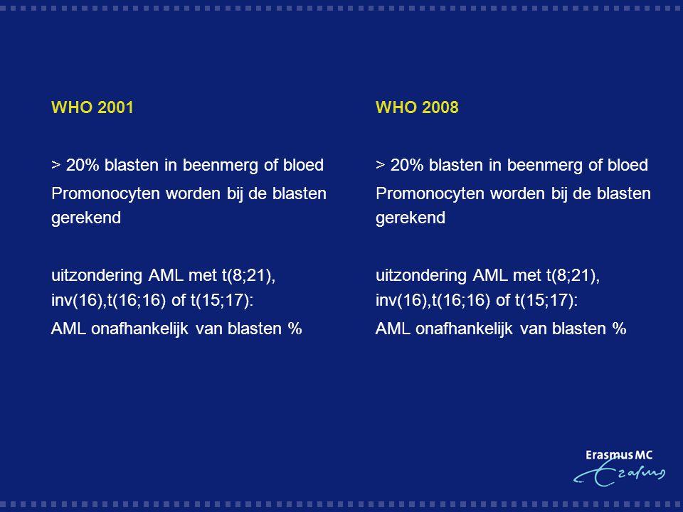  WHO 2001  > 20% blasten in beenmerg of bloed  Promonocyten worden bij de blasten gerekend  uitzondering AML met t(8;21), inv(16),t(16;16) of t(15