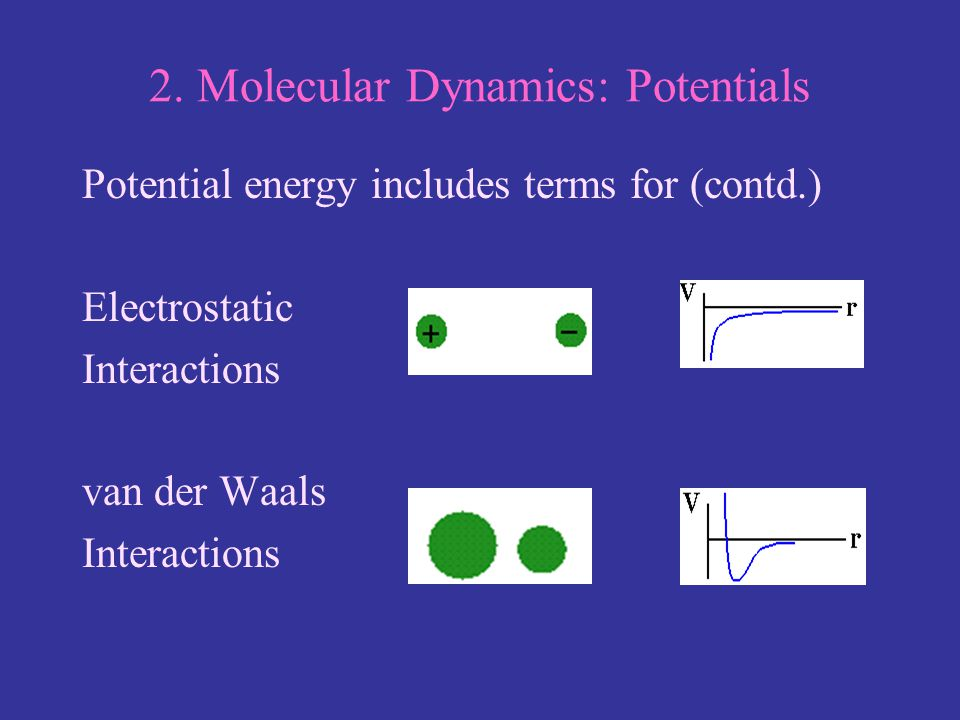 2. Molecular Dynamics: Potentials Potential energy includes terms for (contd.) Electrostatic Interactions van der Waals Interactions