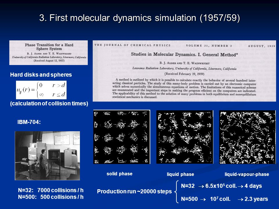 3. First molecular dynamics simulation (1957/59) Hard disks and spheres (calculation of collision times) solid phase liquid phaseliquid-vapour-phase N