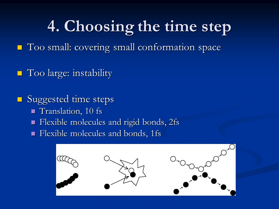4. Choosing the time step Too small: covering small conformation space Too small: covering small conformation space Too large: instability Too large:
