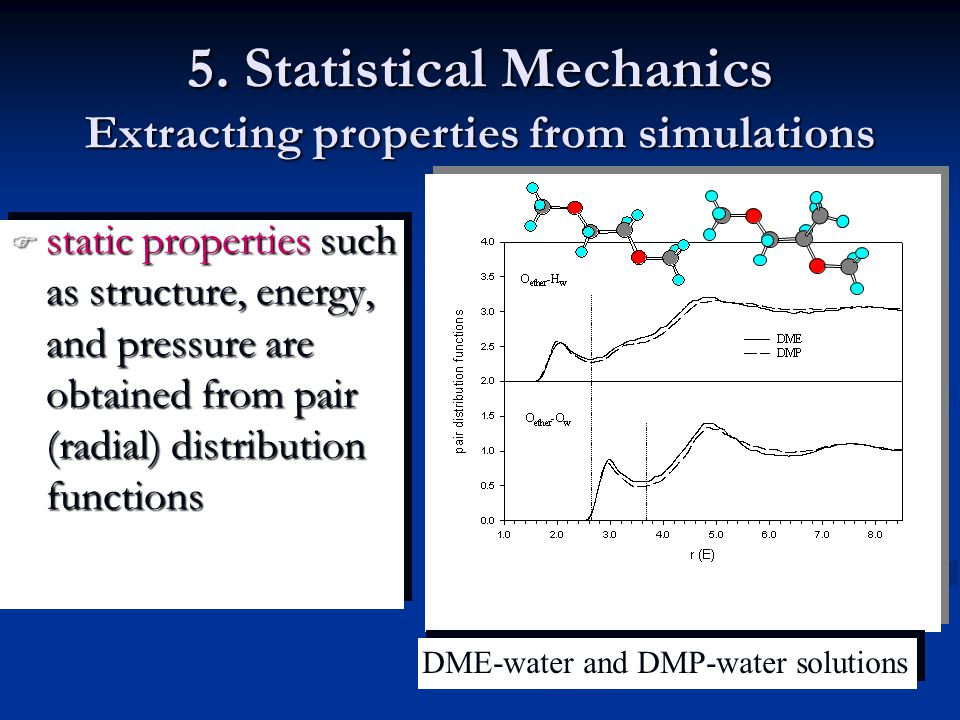 5. Statistical Mechanics Extracting properties from simulations  static properties such as structure, energy, and pressure are obtained from pair (ra