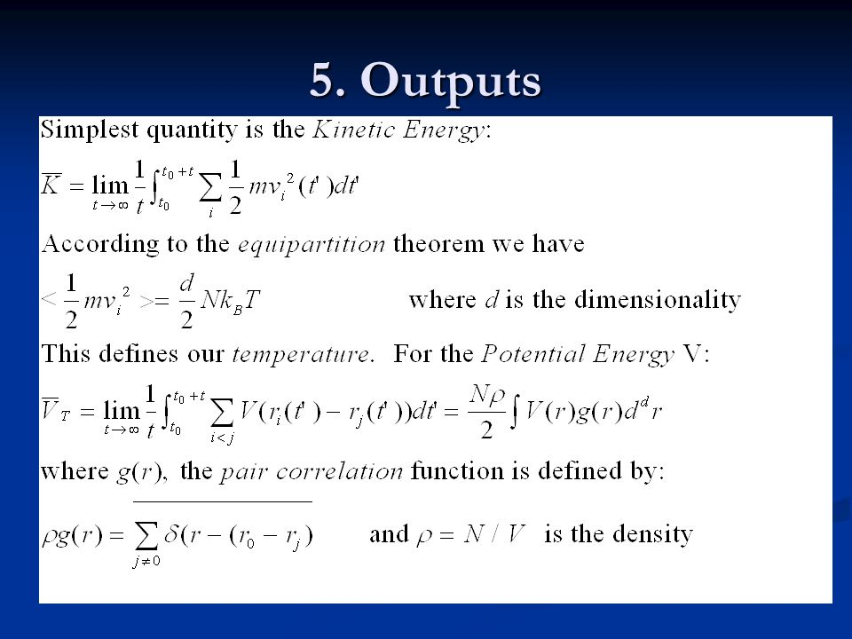5. Outputs