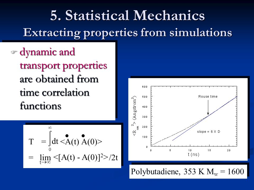 5. Statistical Mechanics Extracting properties from simulations  dynamic and transport properties are obtained from time correlation functions Polybu