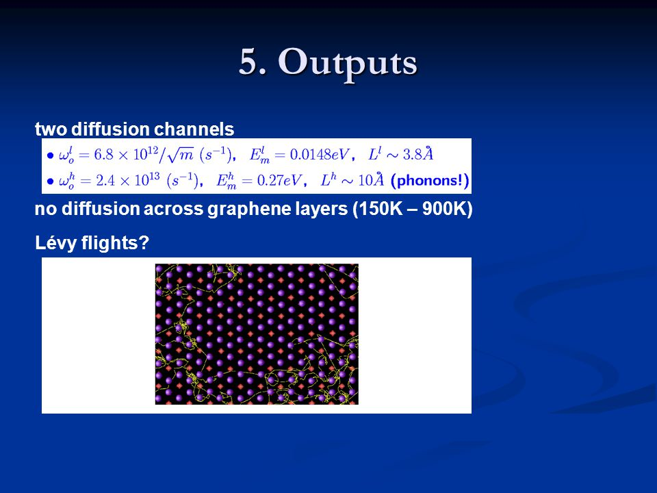 two diffusion channels no diffusion across graphene layers (150K – 900K) Lévy flights? 5. Outputs
