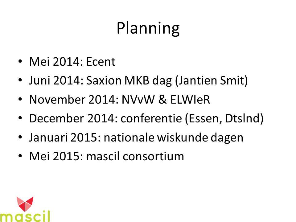 Planning Mei 2014: Ecent Juni 2014: Saxion MKB dag (Jantien Smit) November 2014: NVvW & ELWIeR December 2014: conferentie (Essen, Dtslnd) Januari 2015: nationale wiskunde dagen Mei 2015: mascil consortium