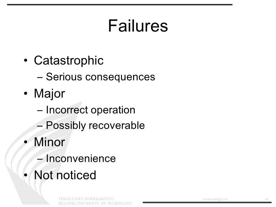 TEKNILLINEN KORKEAKOULU HELSINKI UNIVERSITY OF TECHNOLOGY olli.seppala@hut.fi‹#› Failures Catastrophic –Serious consequences Major –Incorrect operatio