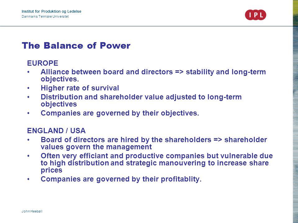 Institut for Produktion og Ledelse Danmarks Tekniske Universitet John Heebøll The Balance of Power EUROPE Alliance between board and directors => stab
