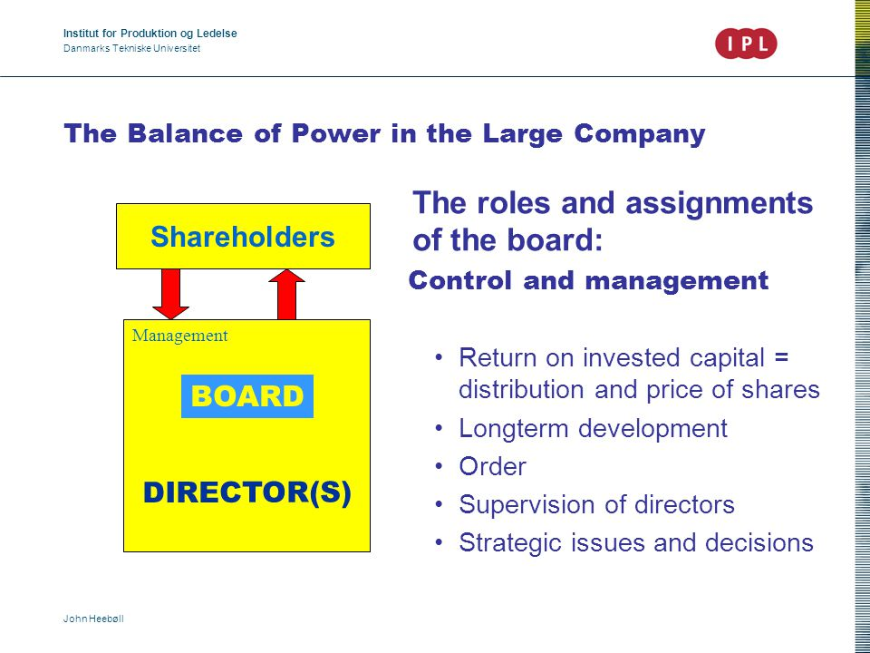 Institut for Produktion og Ledelse Danmarks Tekniske Universitet John Heebøll The Balance of Power in the Large Company The roles and assignments of the board: Control and management Return on invested capital = distribution and price of shares Longterm development Order Supervision of directors Strategic issues and decisions Management DIRECTOR(S) BOARD Shareholders