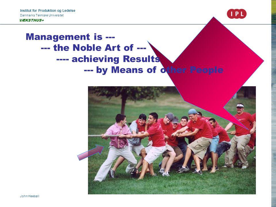 Institut for Produktion og Ledelse Danmarks Tekniske Universitet John Heebøll VÆKSTHUS+ Management is --- --- the Noble Art of --- ---- achieving Results --- by Means of other People