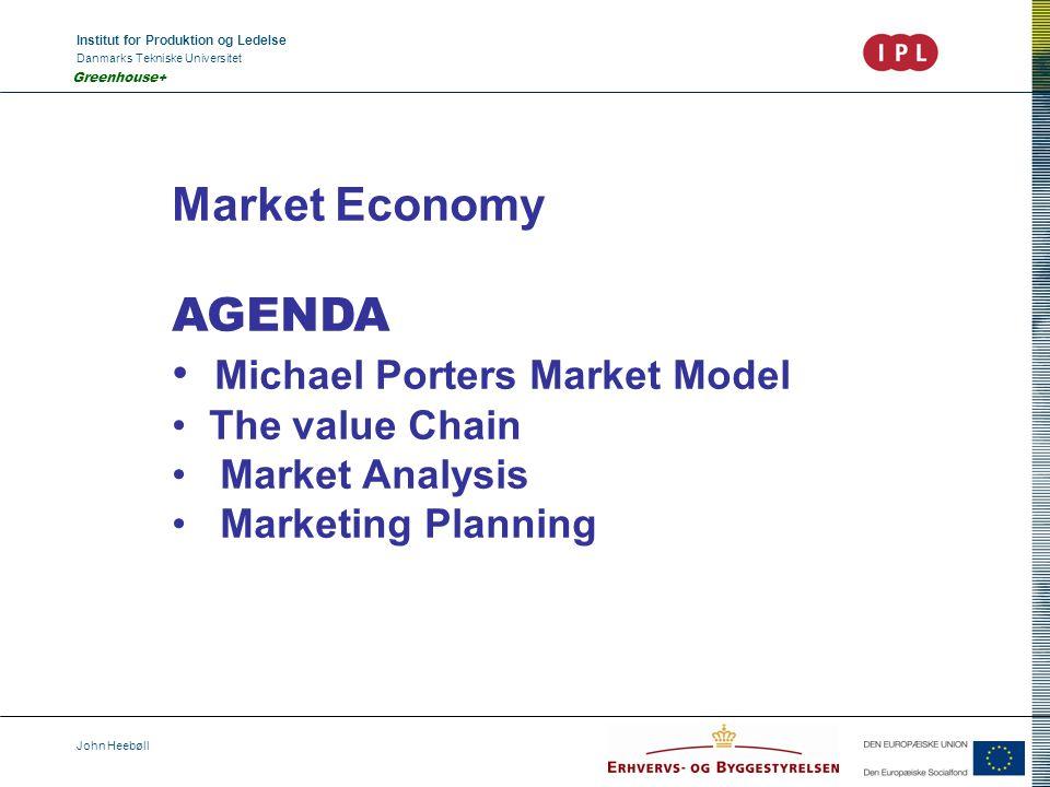 Institut for Produktion og Ledelse Danmarks Tekniske Universitet John Heebøll Greenhouse+ Market Economy AGENDA Michael Porters Market Model The value