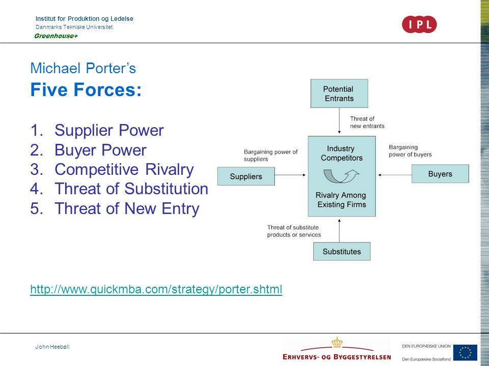 Institut for Produktion og Ledelse Danmarks Tekniske Universitet John Heebøll Greenhouse+ Michael Porter's Five Forces: 1.Supplier Power 2.Buyer Power