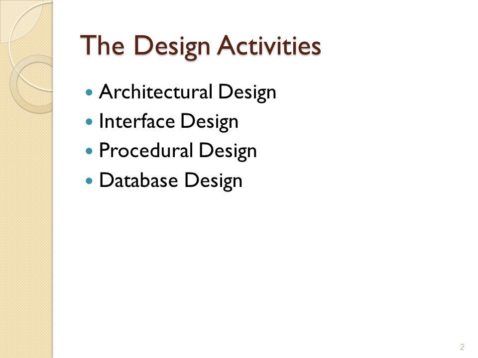Architectural Design Design Concepts ◦ Abstraction ◦ Modularity ◦ Control Hierarchy 3