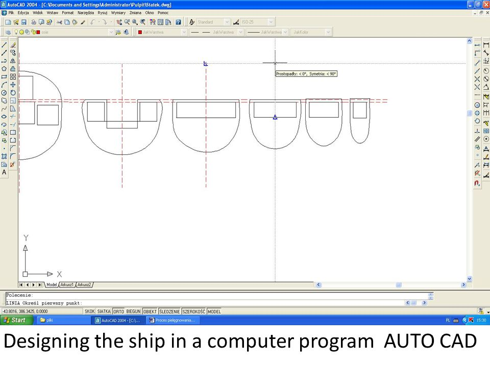 Designing the ship in a computer program AUTO CAD