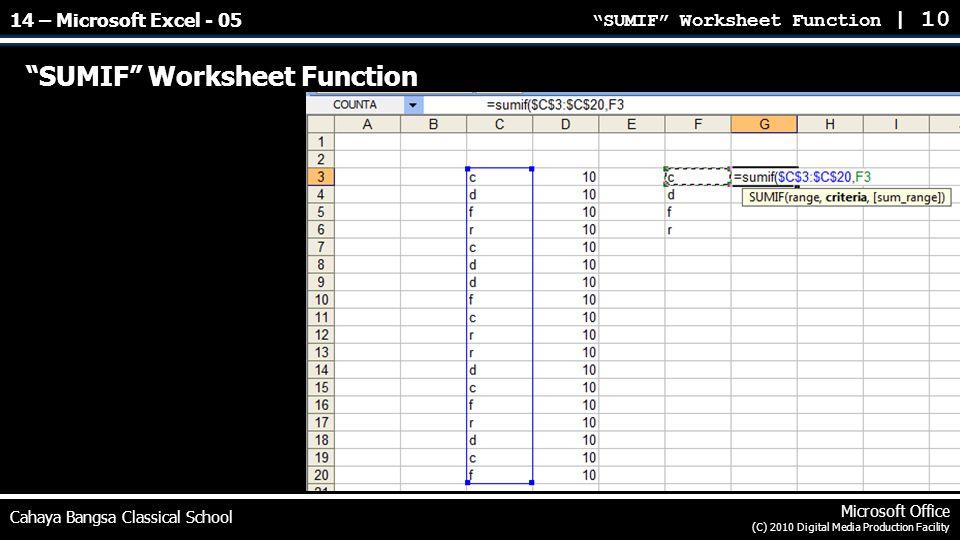 SUMIF Worksheet Function | 10 Cahaya Bangsa Classical School Microsoft Office (C) 2010 Digital Media Production Facility SUMIF Worksheet Function 14 – Microsoft Excel - 05