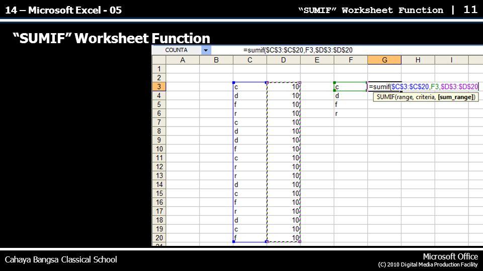 SUMIF Worksheet Function | 11 Cahaya Bangsa Classical School Microsoft Office (C) 2010 Digital Media Production Facility SUMIF Worksheet Function 14 – Microsoft Excel - 05