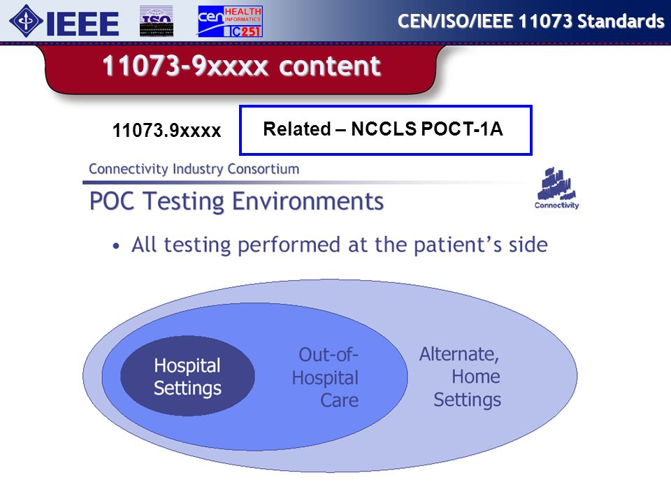 xxxx content CEN/ISO/IEEE Standards Related – NCCLS POCT-1A xxxx