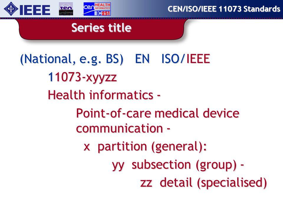 Series structure CEN/ISO/IEEE 11073 Standards Data & Information Definitions 11073.1xxxx Application Profiles11073.2xxxx Transport & Physical Layers 11073.3xxxx Internetworking Support 11073.5xxxx Related – some shared concepts 11073.9xxxx Application Gateways 11073.6xxxx
