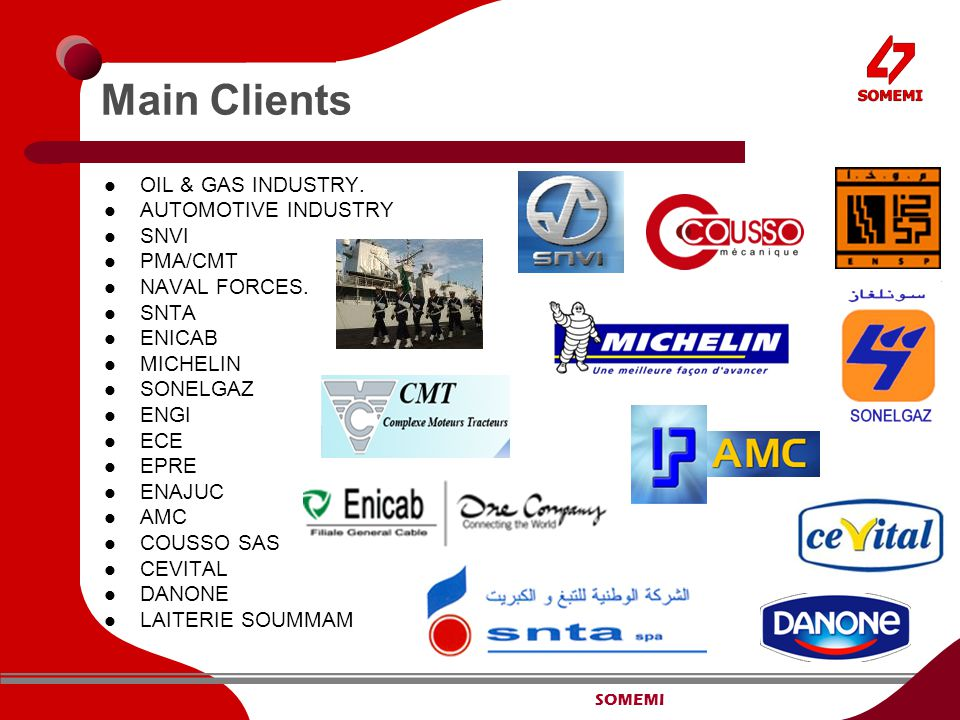 SOMEMI Main Clients OIL & GAS INDUSTRY. AUTOMOTIVE INDUSTRY SNVI PMA/CMT NAVAL FORCES. SNTA ENICAB MICHELIN SONELGAZ ENGI ECE EPRE ENAJUC AMC COUSSO S