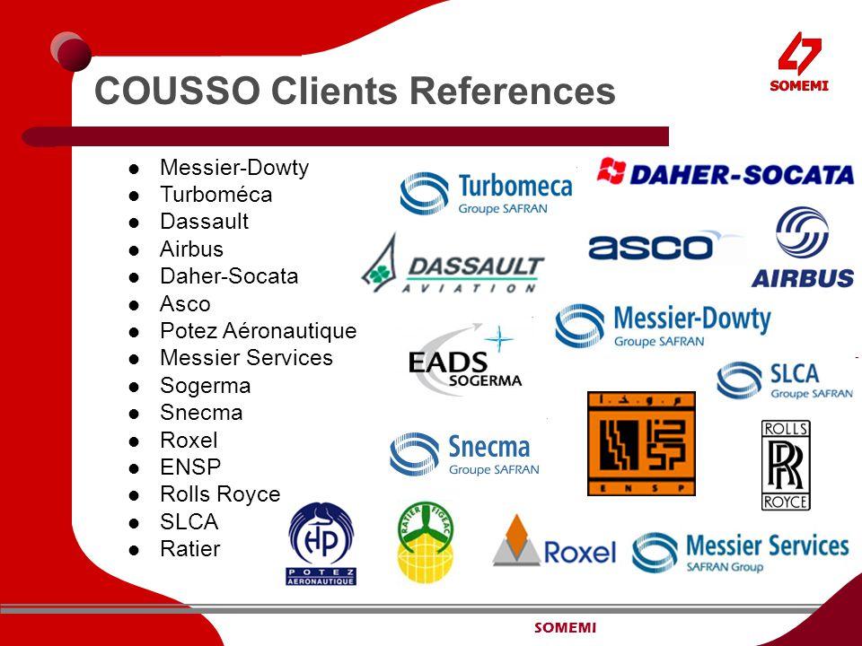 SOMEMI COUSSO Clients References Messier-Dowty Turboméca Dassault Airbus Daher-Socata Asco Potez Aéronautique Messier Services Sogerma Snecma Roxel ENSP Rolls Royce SLCA Ratier