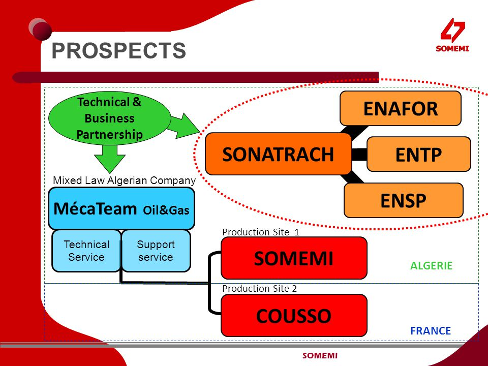 SOMEMI PROSPECTS SONATRACH ENSP SOMEMI COUSSO MécaTeam Oil&Gas Mixed Law Algerian Company Production Site 1 Production Site 2 Technical Service Support service ALGERIE FRANCE ENTP ENAFOR Technical & Business Partnership