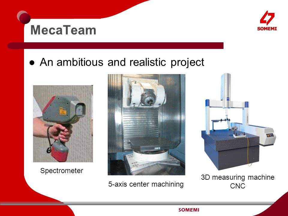 SOMEMI MecaTeam An ambitious and realistic project Spectrometer 5-axis center machining 3D measuring machine CNC