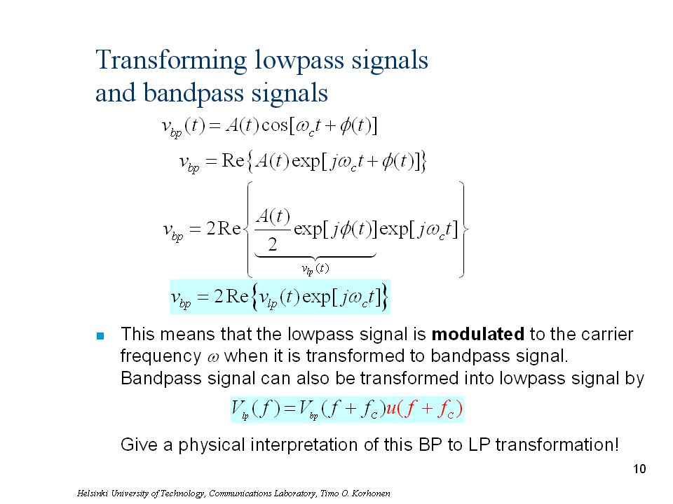 Helsinki University of Technology, Communications Laboratory, Timo O. Korhonen 11 Transforming lowpass signals and bandpass signals This means that th