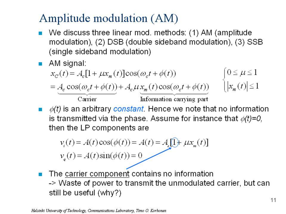 Helsinki University of Technology, Communications Laboratory, Timo O. Korhonen 13 Amplitude modulation (AM) n We discuss three linear mod. methods: (1