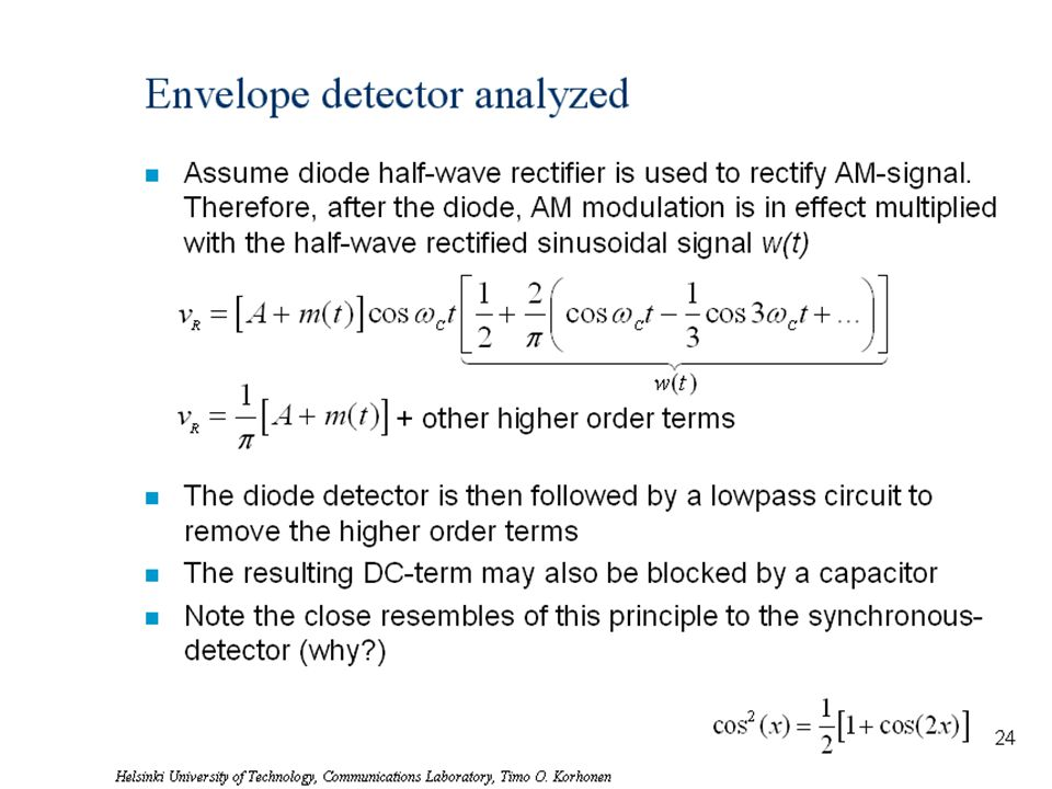 Helsinki University of Technology, Communications Laboratory, Timo O. Korhonen 28 Envelope detector analyzed n Assume diode half-wave rectifier is use