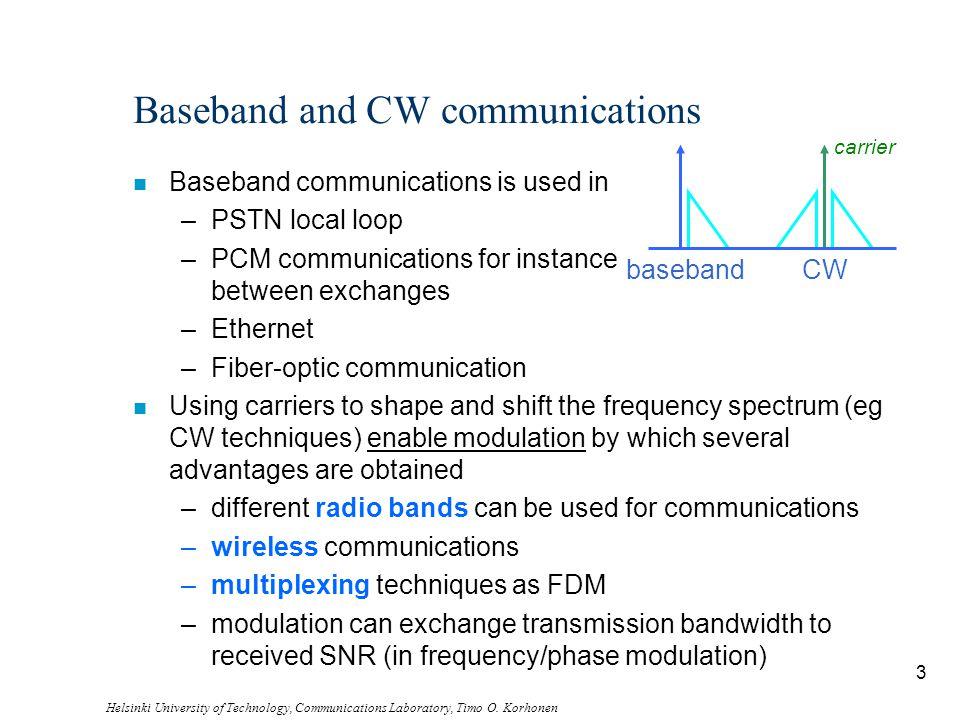 Helsinki University of Technology, Communications Laboratory, Timo O. Korhonen 3 Baseband and CW communications n Baseband communications is used in –