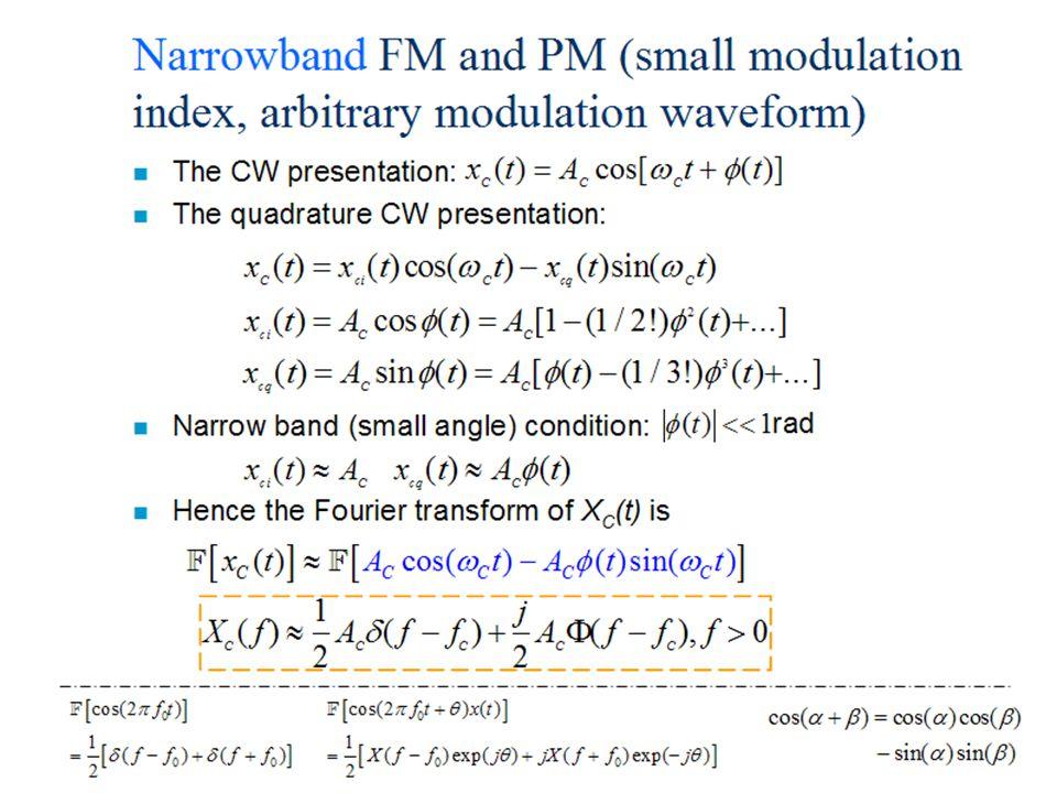 12 Helsinki University of Technology,Communications Laboratory, Timo O. Korhonen Narrowband FM and PM (small modulation index, arbitrary modulation wa