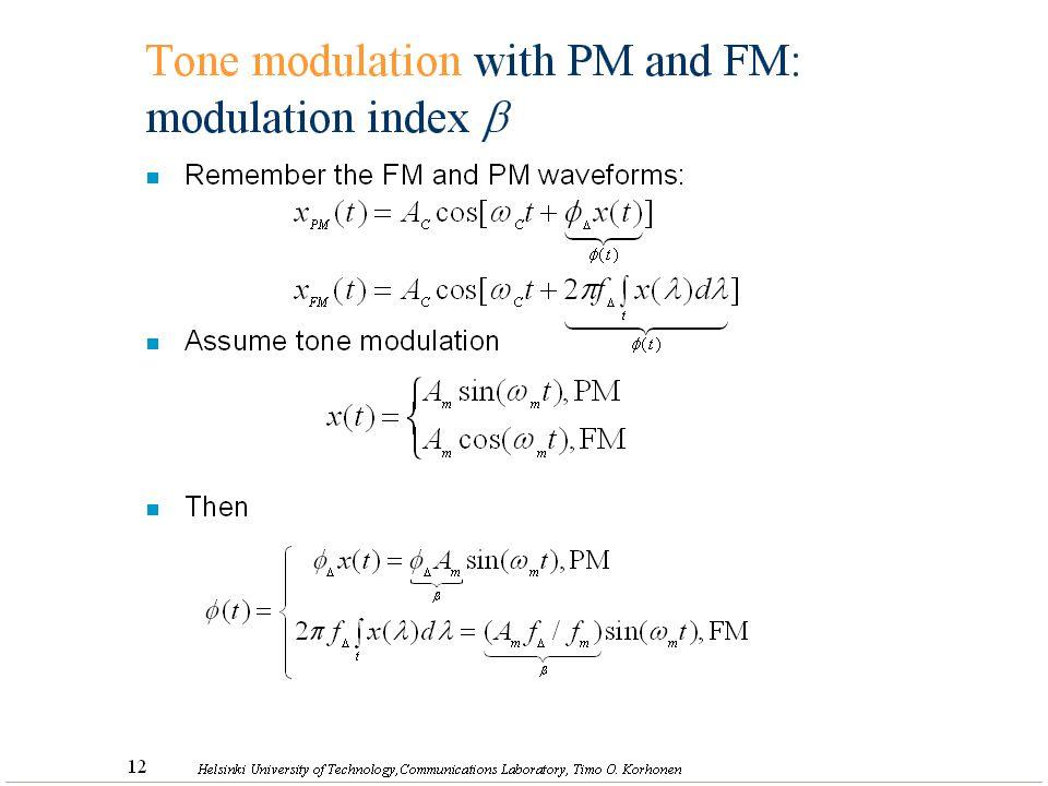 17 Helsinki University of Technology,Communications Laboratory, Timo O. Korhonen Tone modulation with PM and FM: modulation index  n Remember the FM
