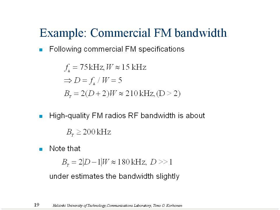 27 Helsinki University of Technology,Communications Laboratory, Timo O. Korhonen Example: Commercial FM bandwidth n Following commercial FM specificat