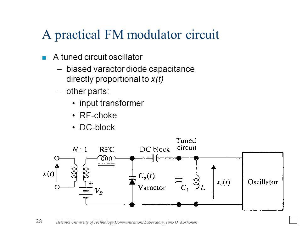 28 Helsinki University of Technology,Communications Laboratory, Timo O. Korhonen A practical FM modulator circuit n A tuned circuit oscillator –biased