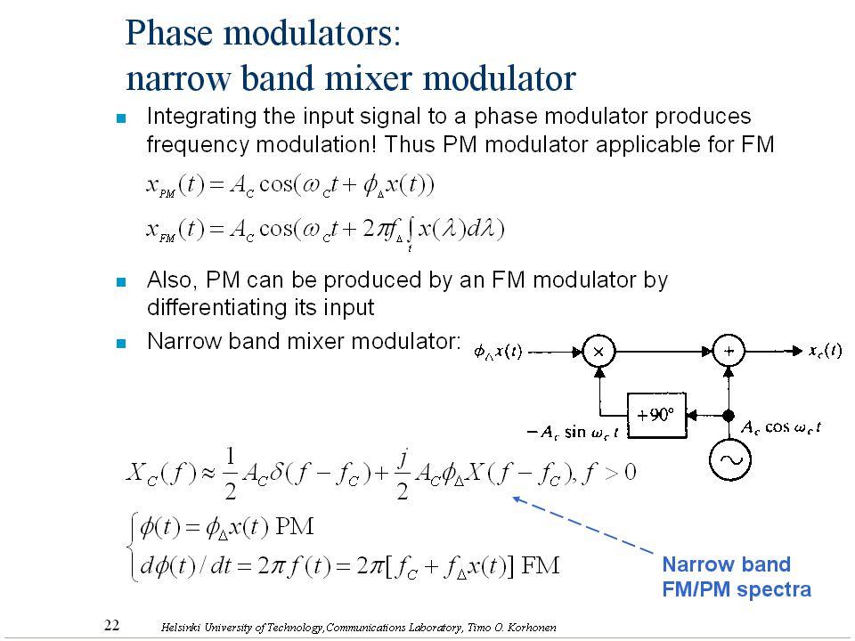 31 Helsinki University of Technology,Communications Laboratory, Timo O. Korhonen n Integrating the input signal to a phase modulator produces frequenc