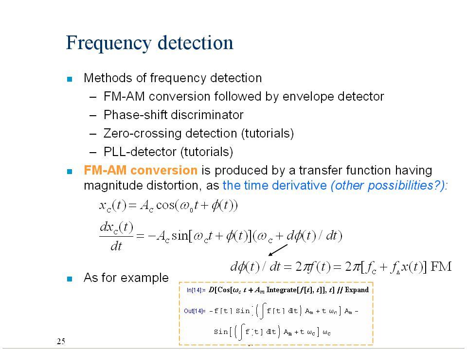 32 Helsinki University of Technology,Communications Laboratory, Timo O. Korhonen Frequency detection n Methods of frequency detection –FM-AM conversio