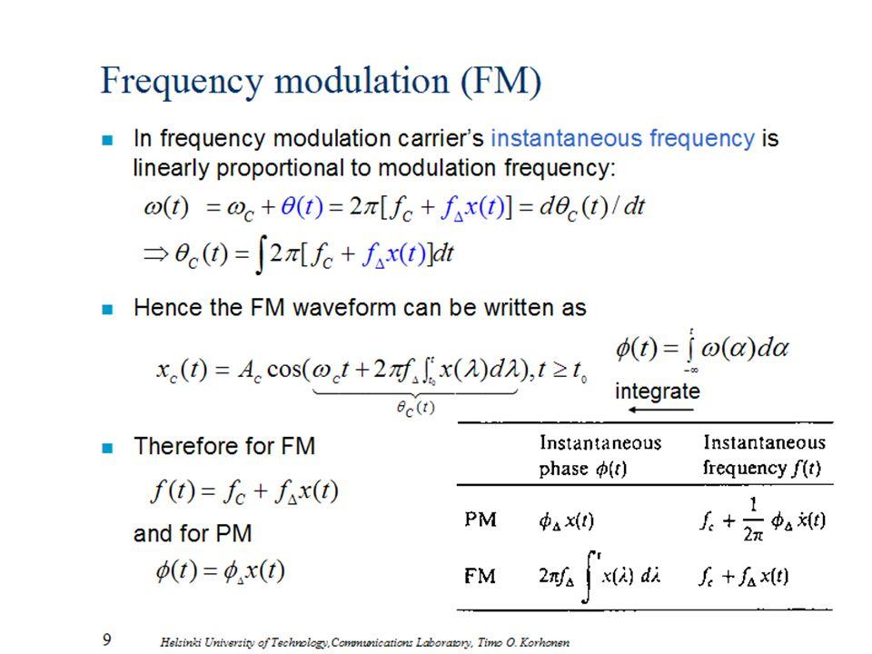9 Helsinki University of Technology,Communications Laboratory, Timo O. Korhonen Frequency modulation (FM) n In frequency modulation carrier's instanta