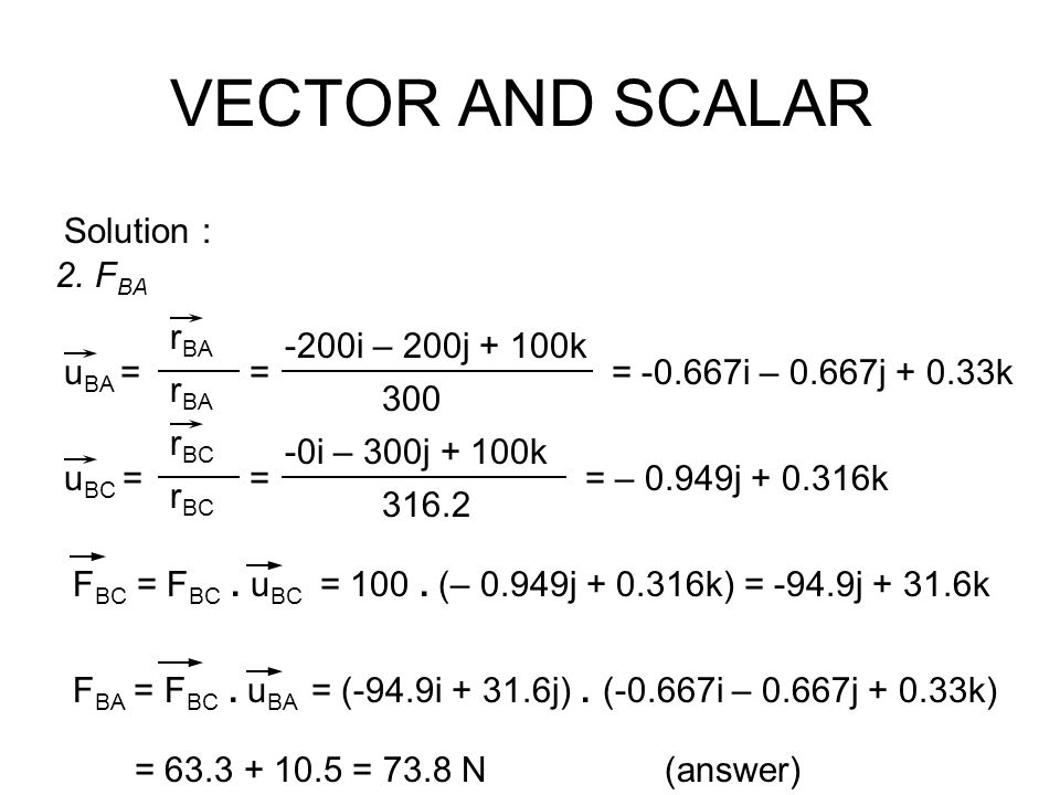 VECTOR AND SCALAR Solution : = r BA u BA = r BA 2.F BA -200i – 200j + 100k 300 = -0.667i – 0.667j + 0.33k r BC u BC = r BC = -0i – 300j + 100k 316.2 =