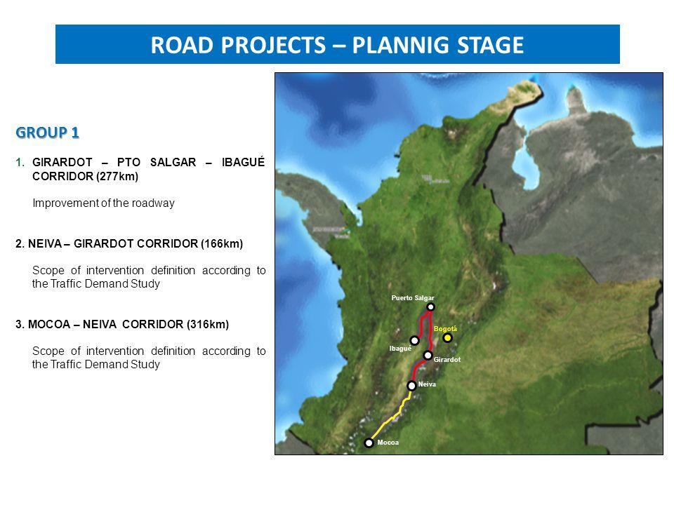 GROUP 1 1.GIRARDOT – PTO SALGAR – IBAGUÉ CORRIDOR (277km) Improvement of the roadway 2.