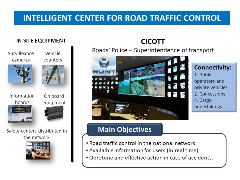 CICOTT Roads' Police – Superintendence of transport Survilleance cameras Information boards Vehicle counters On board equipment IN SITE EQUIPMENT Safe