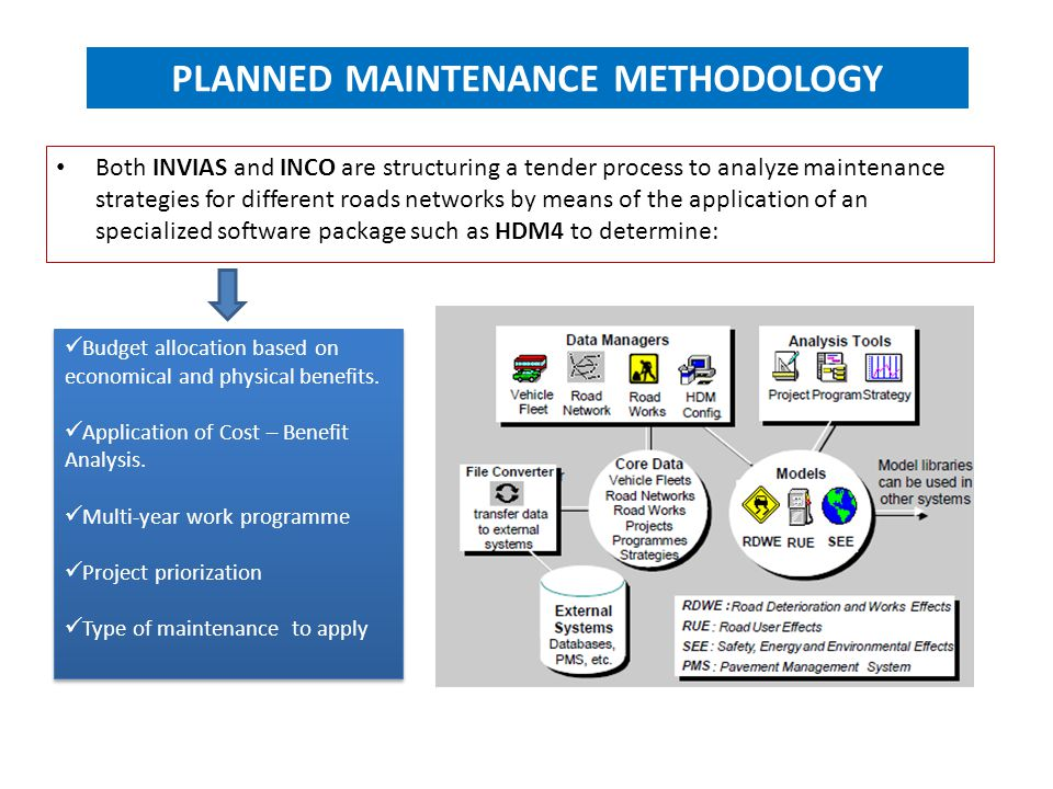 PLANNED MAINTENANCE METHODOLOGY Both INVIAS and INCO are structuring a tender process to analyze maintenance strategies for different roads networks b